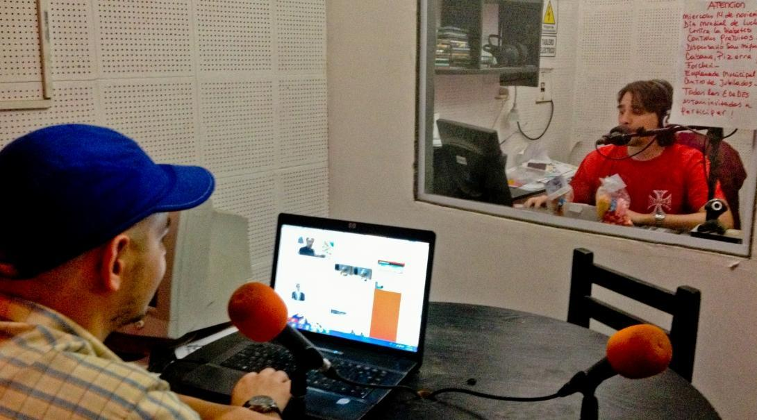 A radio journalism intern in Argentina at his placement